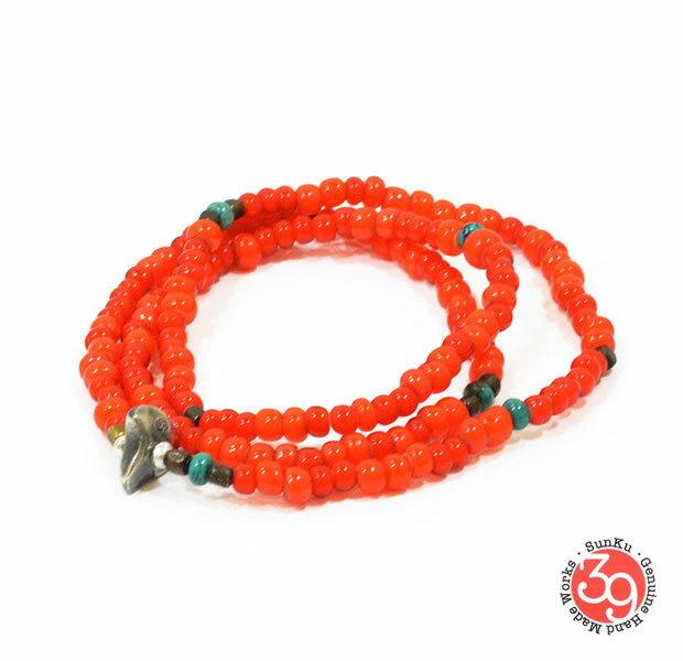 Sunku/39/サンク LTD-008 Antique Beads Necklace & Bracelet Orange アンティークビーズブレスレットNecklace/ネックレスSilver925/シルバー/BRASS/真鍮アンティーク/ターコイズ/Turquoiseアクセサリー