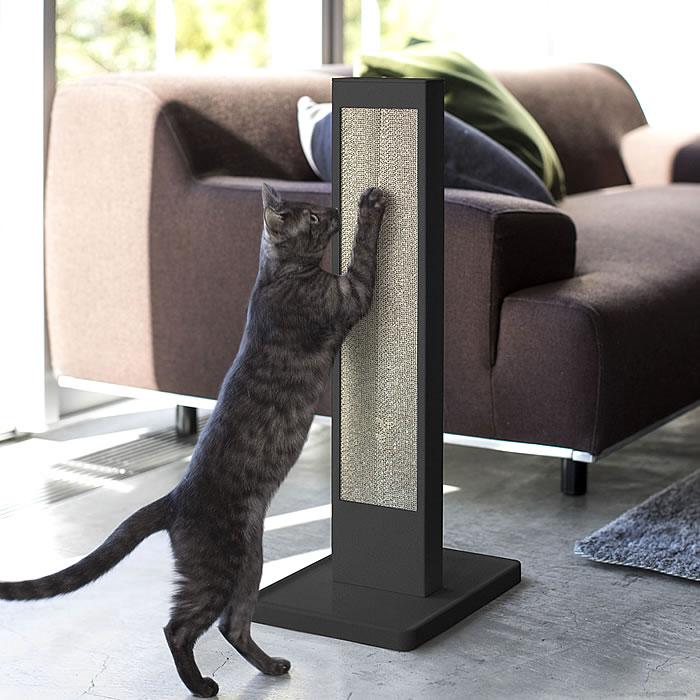 タワー tower 猫の爪とぎスタンド スチール ペット用品 4212 4213 組立式  ホワイト ブラック ダンボール 猫 段ボール つめとぎ 爪とぎ ねこ ポール 壁 スタンド 縦 モノクロ おしゃれ 山崎実業