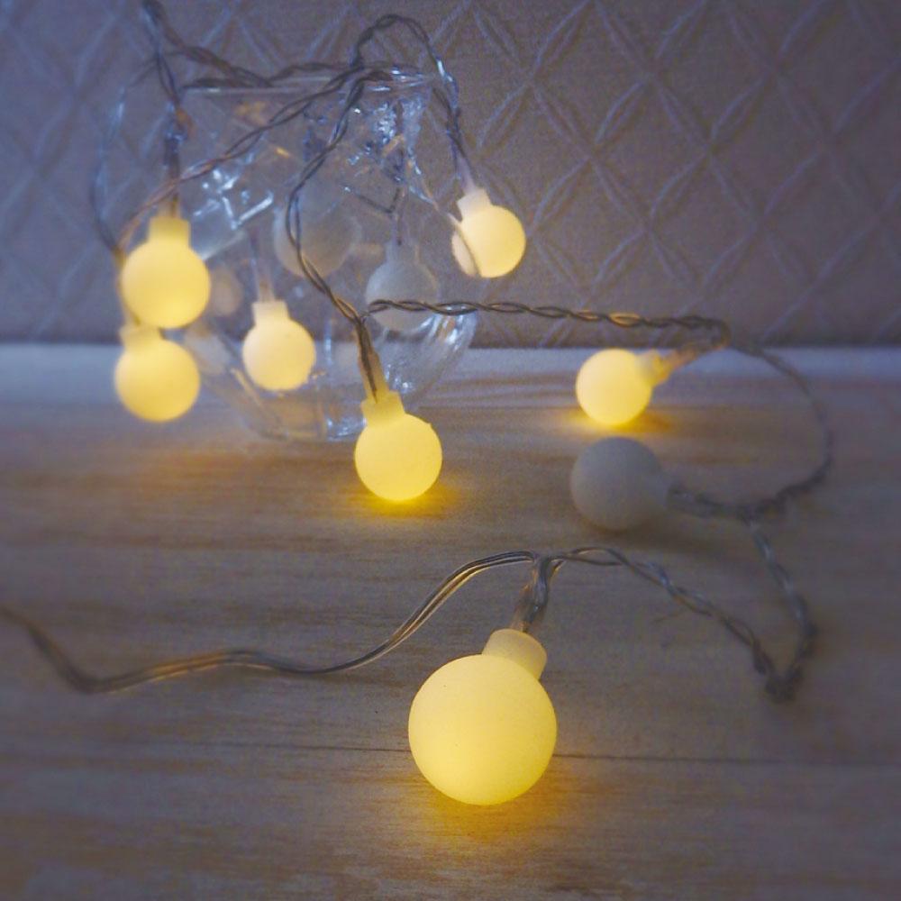 【 インテリア 装飾 LED イルミネーション USB電源対応 】 2WAY LEDフラッシュライト フロストボール 丸型 10球 【 LED ライト ガーランド パーティー 模様替え ディスプレイ 】【あす楽対応】