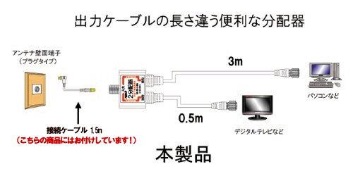 アンテナ分配器入力ケーブル1.5m付属!デジタル放送対応 アンテナ2分配器出力ケーブル一体型 片側 F型接栓 0.5m-片側 F型接栓 3.0m BS CS 地デジ対応C087