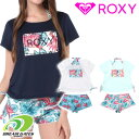 ROXY ロキシー 水着3点セット【HOLIDAY】上下セットラッシュTシャツ×ボタニカル柄ビキニ 3ピースセット