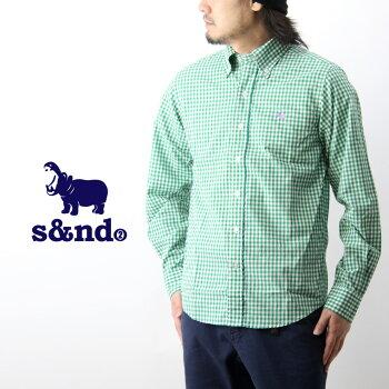 s&ndセカンドギンガムチェックボタンダウンシャツ