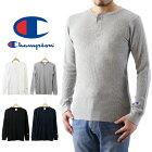 ChampionチャンピオンヘンリーネックサーマルロングスリーブTシャツ(メンズ長袖Teeトップス無地C3-E431)