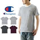 ChampionチャンピオンベーシックボーダーポケットTシャツ(メンズポケTee半袖トップスC3-H361)
