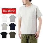 Healthknitヘルスニットマックスウェイトジャージークルーネックポケット半袖Tシャツ(メンズトップスポケTee半袖ヘビーウェイト無地7551)