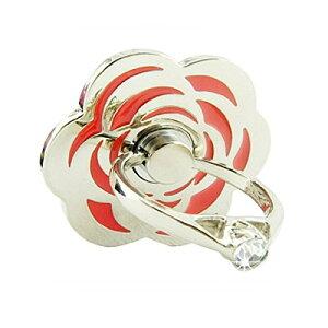 【レビューを書いて 送料無料】スマートフォン リング LEPLUS Grip Ring Flower シルバー/レッド LP-SMRG01SFNRD/在庫あり/フラワー・スマホ・アクセサリー・スタンド/ラインストーン