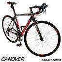 【1年保証付き】ロードバイク 自転車 700c デュアルコントロールレバー 16段変速 軽量 アルミ ライト付 CANOVER カノーバー CAR-011 ZENOS【組立必要品】
