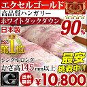 日本製 羽毛布団 7年保証 国内パワーアップ 除菌防臭加工 かさ高145mm以上 エクセルゴールドラ...
