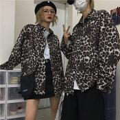 【3サイズ展開】M,L.XL韓国ストリートファッションユニセックスビッグシルエットヒョウ柄総柄長袖シャツ