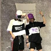 【2色展開】フリーサイズユニセックス韓国ストリートファッショングラフィックロンT長袖Tシャツ