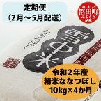 【ふるさと納税】 定期便 ななつぼし 北海道 雪中米 10kg 2月から4か月発送 令和2年産