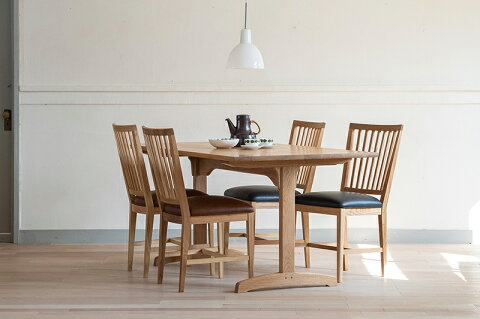 【ふるさと納税】Dining Table Shaker 2+Grace Chair〈ブラック革&ブラウン革〉