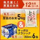 【ふるさと納税】毎月届く定期便「厚真のお米 5kg」+サッポ...