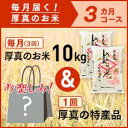 【ふるさと納税】3ヵ月!毎月届く定期便「厚真のお米」10kg