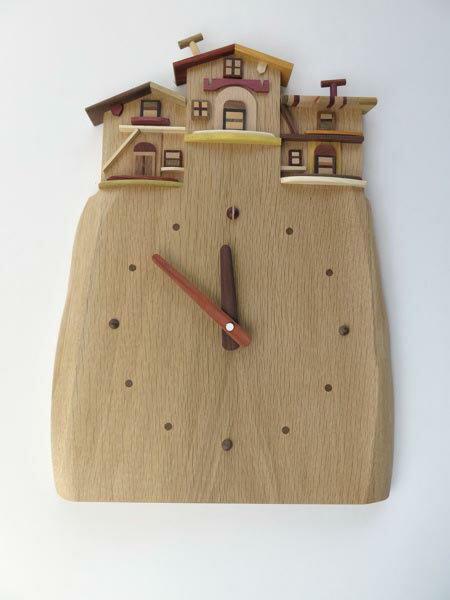 【ふるさと納税】工房外山の天然木掛け時計【受注生産】:北海道厚真町