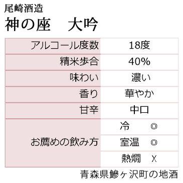 【ふるさと納税】鰺ヶ沢の地酒 尾崎酒造 清酒 大吟・神の座 1800ml