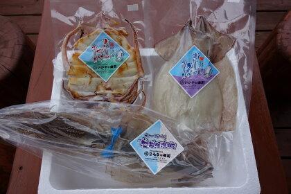 青森県鰺ヶ沢町 生干しイカ(2枚)と焼きイカ真空パック、やわらかスルメ(3枚)セット