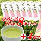 【ふるさと納税】工場直送!深蒸し茶100g×8本 おすそ分け用 包装袋セット!