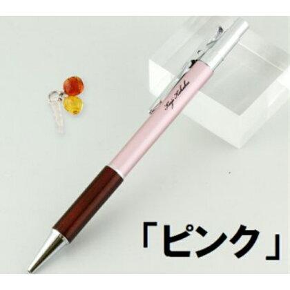 ノック式琥珀ボールペンと琥珀イヤホンジャックセット「ピンク」