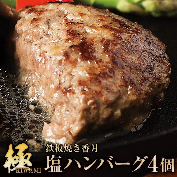 【ふるさと納税】【極・塩ハンバーグ】前沢牛100%(4個セット) ブランド牛100% 訳あり