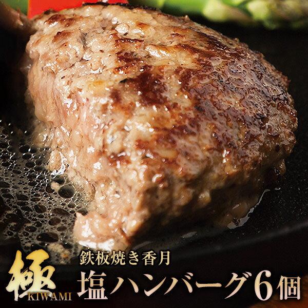 【ふるさと納税】【極・塩ハンバーグ】前沢牛100%(6個セット) ブランド牛100% 訳あり