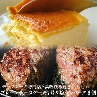 盛岡有名店のプレーンチーズケーキ7号&ハンバーグ6個セット