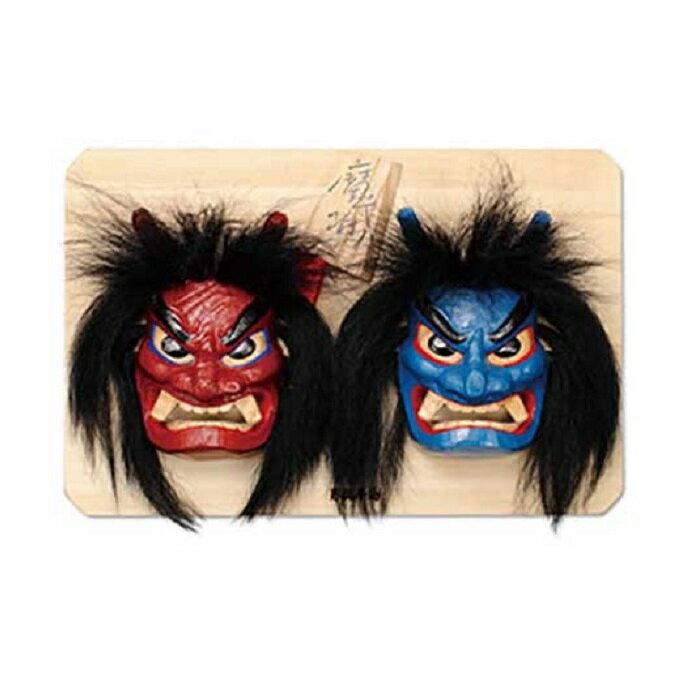 木彫りなまはげ面 板付き(7号サイズ 赤青) [民芸品・工芸品・伝統技術]