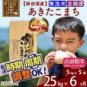 【ふるさと納税】 《定期便6ヶ月》 【無洗米】 秋田県産 合川地区限定 あきたこまち 25kg(5kg×5袋)×6回 農家直送 新米