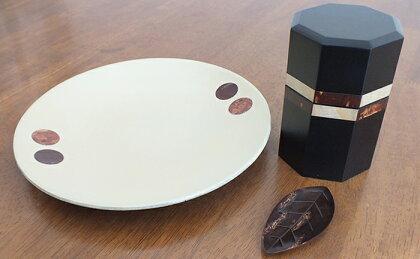 (樺細工)八角茶筒Square 盛皿(小)dot 茶み木の葉