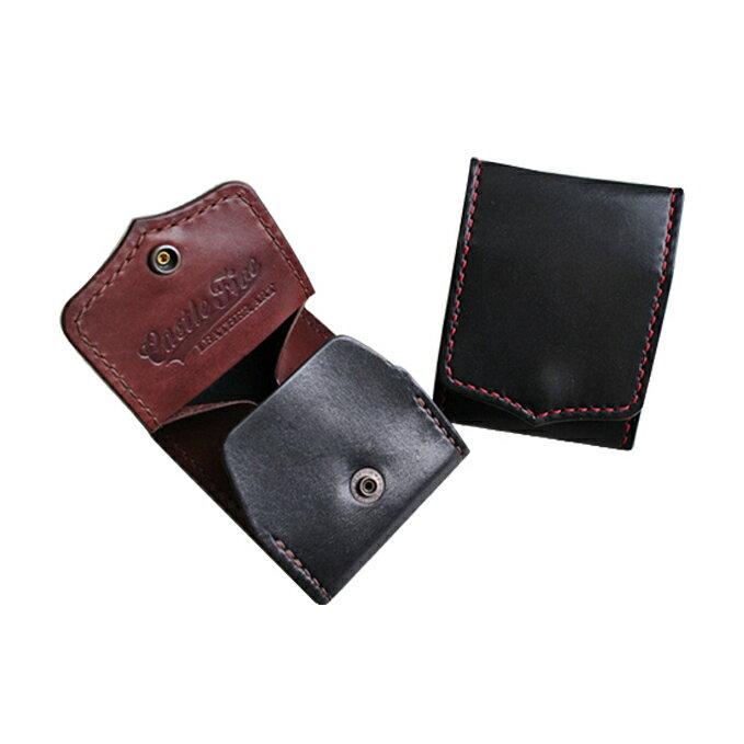 【ふるさと納税】レザーコインケース(赤×黒、黒×茶)(80×100×12mm)  【ファッション小物・財布】