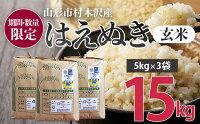 【ふるさと納税】FY21-176【期間・数量限定】令和2年産はえぬき玄米15kg(5kg×3)