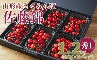 【ふるさと納税】FY21-167山形産さくらんぼ佐藤錦秀L1.2kg