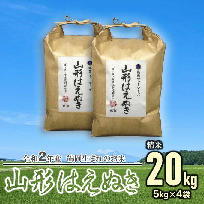 【ふるさと納税】令和2年産 山形はえぬき 精米20kg(5kg×4袋) 一等米 ごは...