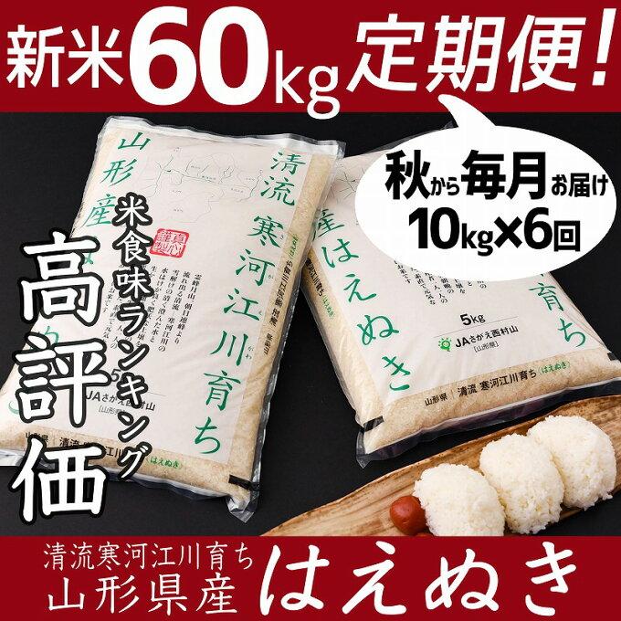 【ふるさと納税】計 60kg 新米 定期便 6ヶ月 2021年産 はえぬき 10kg...