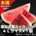 【ふるさと納税】尾花沢産スイカ4Lサイズ(約9~10kg)×