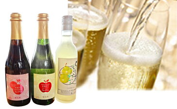【ふるさと納税】大江町産フルーツ使用 ラフランスワイン&サクランボ・リンゴスパークリング3本セット 【お酒/シャンパン/スパークリングワイン】