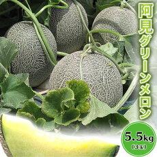 【ふるさと納税】20-15茨城県産グリーンメロン5.5kg(3玉)【大地のめぐみ】