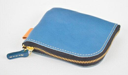 【ふるさと納税】財布 minca/Lzip wallet small 02/BLUE 栃木レザー 和宏