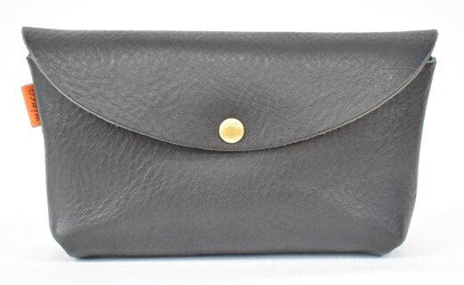 【ふるさと納税】財布 minca/Pouch 02/M/BLACK 栃木レザー 和宏