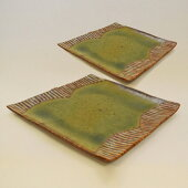【ふるさと納税】釉彩角皿2枚セットライン模様和食器おしゃれ正方形工芸品手作り食器陶器