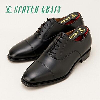 ふるさと納税 スコッチグレイン紳士靴「アシュランス」NO.3526(ブラック) ウィズEEE  特典:靴クリーム等セット SC