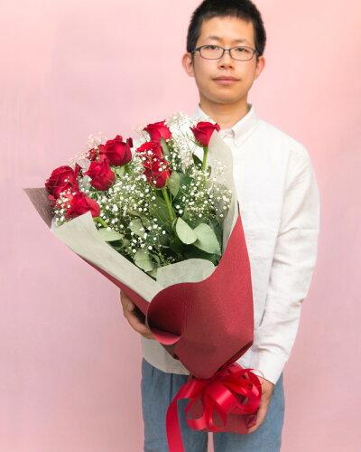 《記念日に届くお花シリーズ》赤バラの花束 10本「あなたは全てが完璧」