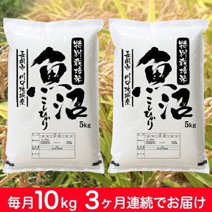 特別栽培米 新潟県魚沼産コシヒカリ(長岡川口地域)毎月10kg 3回お届け