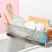 【ふるさと納税】【032P002】[ハナウタ]おしゃれなステンレス製キッチン用品水切りラック縦置ロングシルバー