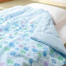 【ふるさと納税】寝具布団洗える抗菌高品質0254抗菌防臭ガーゼ衿付肌掛けふとん2色組(ピンク/ブルー)