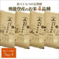【ふるさと納税】【食べくらべの定期便】奥能登産のお米4品種の中から毎月ひとつの品種をお届け(1袋5kg入り)