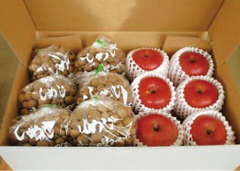 【ふるさと納税】ぶなしめじ(6株)と季節のリンゴ(6個)のセット(9月〜3月)