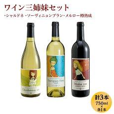 【ふるさと納税】1214ワイン三姉妹セット【シャルドネ・ソーヴィニョンブラン・メルロ−】