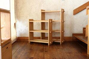 【ふるさと納税】【オークヴィレッジ】組み立て棚3段・4段セット ナチュラル〔国産材 木製家具〕インテリア 無垢 g180