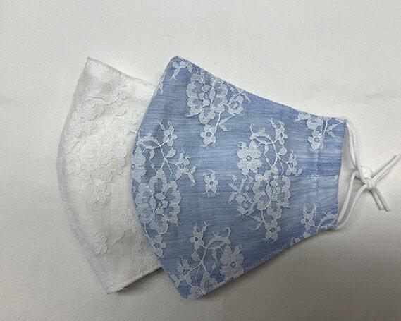 【ふるさと納税】No.221 涼やか冷感レースマスク2枚セット(白・空色) / おしゃれ 日本製 洗える 布マスク 大きめ ホワイト 水色 パステルカラー